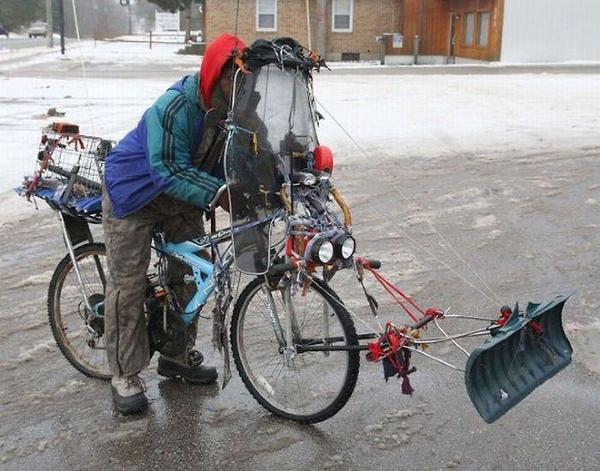 Bike Snow Plow - funnypictures.me
