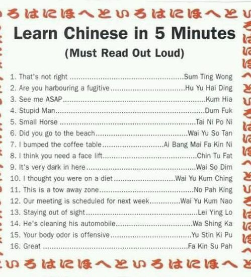 Learn Chinese In 5 Minutes - funnypictures.me