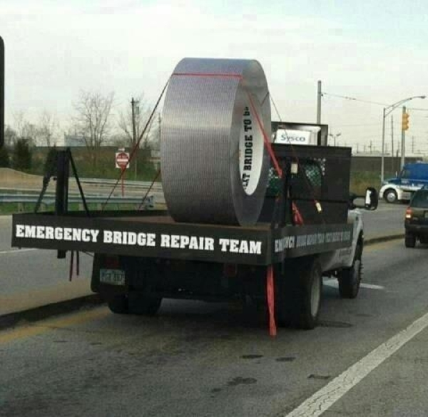 Emergency bridge repair team - Funny pictures