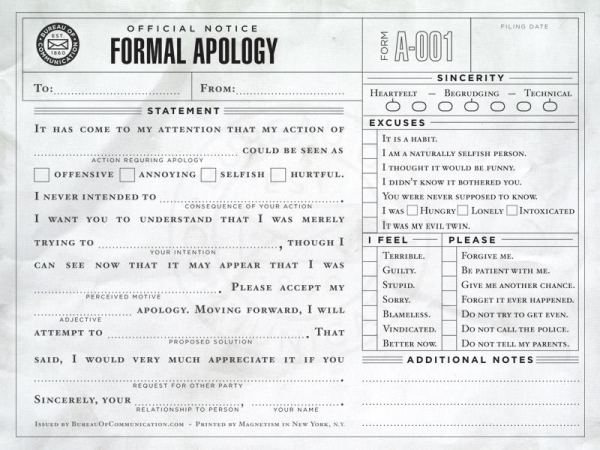 Formal apology - Funny pictures