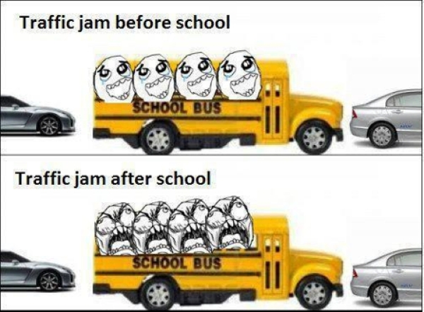 School Bus Traffic Jam - Funny pictures