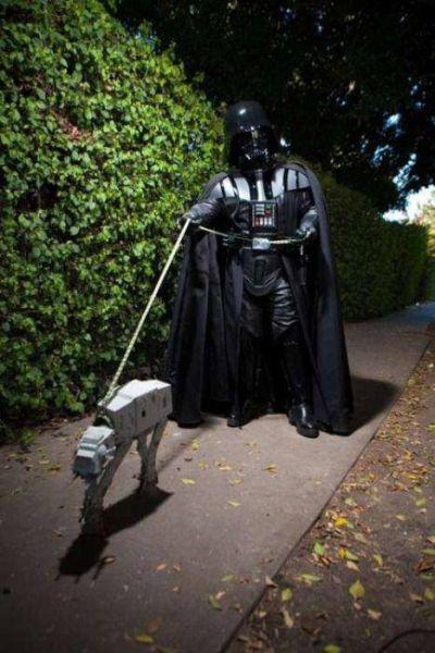 Darth Vader Walking a Walker - Funny pictures