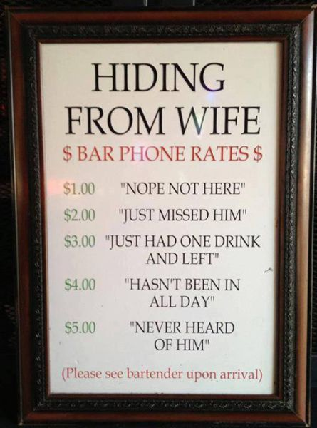 Hiding From Wife Bar Phone Rates - Funny pictures