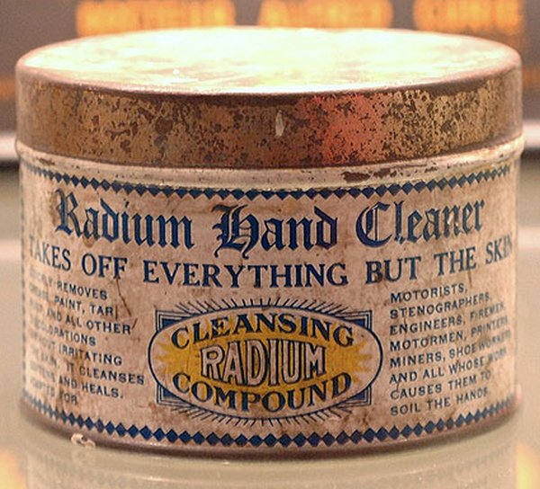 Radioactive products from past - Radium hand cleaner