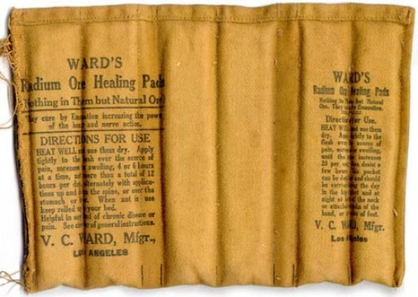 Radioactive products from past - Radium heating pads