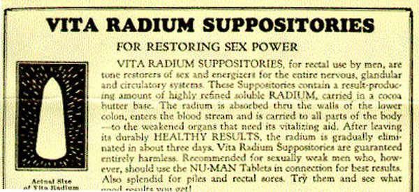 Radioactive products from past - Radium Suppositories for men