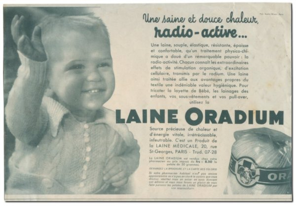 Radioactive products from past - Radium wool