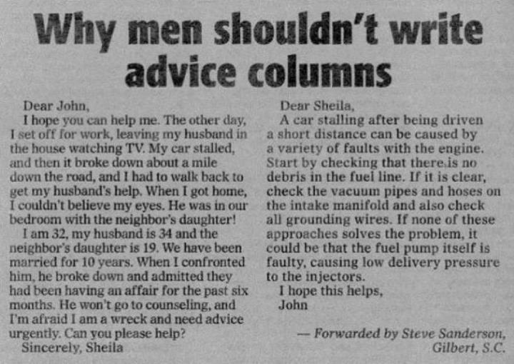Why Men Shouldn't Write Advice Columns - Funny pictures