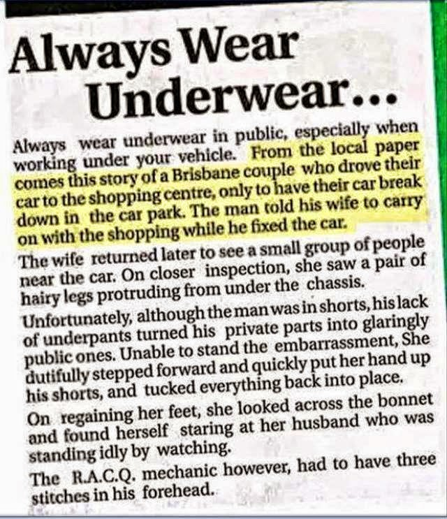 Always Wear Underwear - Funny pictures