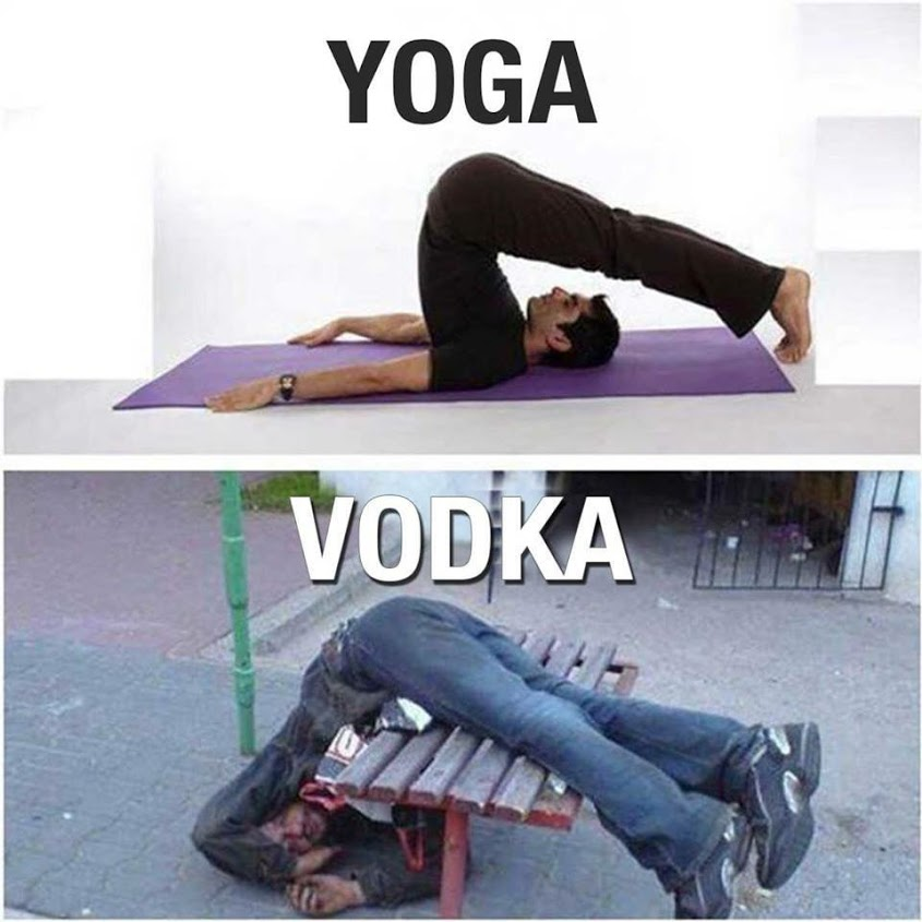 Yoga Vs. Vodka - Funny pictures