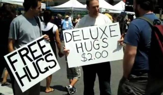 Free Vs. Deluxe Hugs - Funny pictures