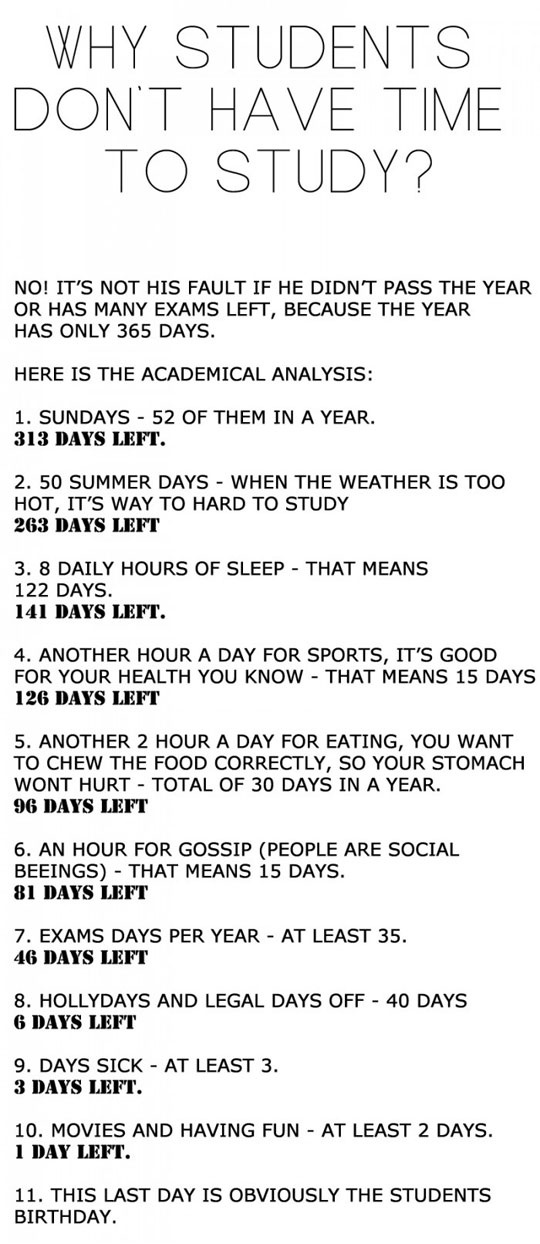 Why Students Don't Have Time To Study - Funny pictures