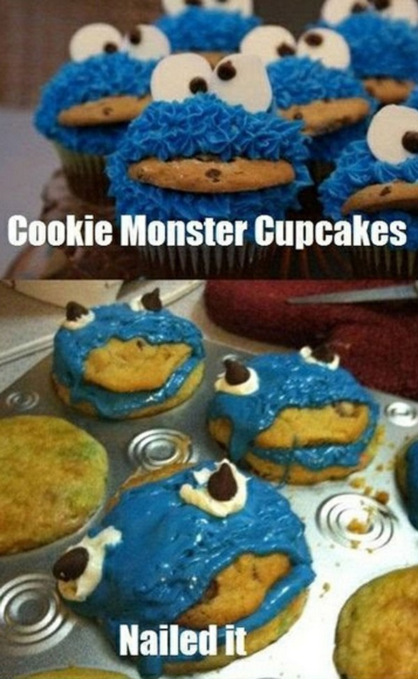 Cookie Monster Cupcakes - Funny pictures