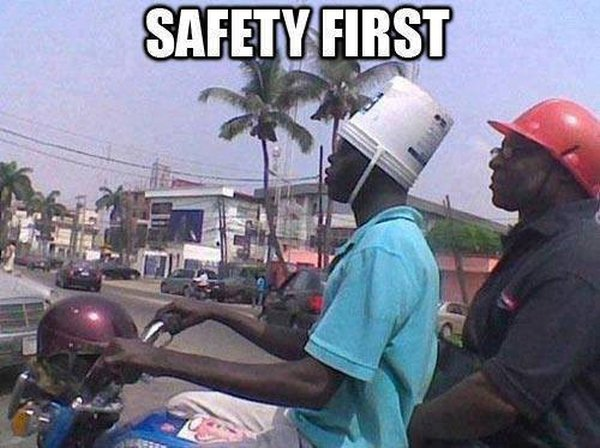 funny pictures safety first bucket helmet - Download funny safety photos